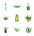 aloe icon set flat style vector image