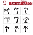 Black palm icons set