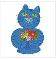 blue cat with flowers vector image
