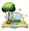 book with green frog by the pond vector image vector image