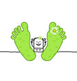 cartoon relaxing spring woman with big feet vector image
