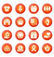 charity icons set red vector image vector image
