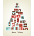Christmas presents arranged as a seasonal tree vector image vector image