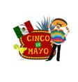 cinco de mayo icon with mexican musician vector image vector image