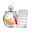 clock and notepad vector image