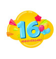 cute cartoon template 16 years anniversary vector image vector image