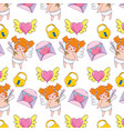 cute cupid and set icons pattern vector image