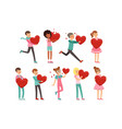 cute enamored people characters set with paper red vector image