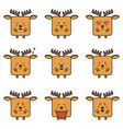 deer elk emoji set vector image
