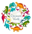 Dinosaurs world cartoon poster vector image