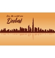 Dubai city skyline silhouette with brown vector image vector image