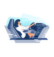 flat view from the car with businesswoman talking vector image vector image