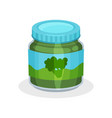 glass jar of natural baby food vegetable puree vector image vector image