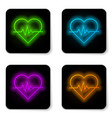 glowing neon line heart rate icon isolated vector image vector image