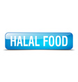 halal food blue square 3d realistic isolated web vector image vector image
