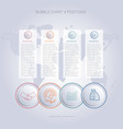 infographics color bubble chart template for 4 vector image