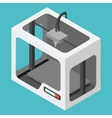 Isometric 3D Printer on a Blue Background vector image