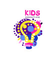 kids creative colorful logo labels for kids club vector image vector image