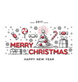 Merry Christmas outline style design vector image vector image