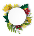 paper art of frame circle with nature green vector image vector image