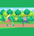 people on skate rollers and kick scooter in park vector image vector image