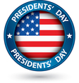 Presidents day blue label with USA flag vector image