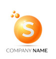 s letter splash orange dots and circle bubble vector image vector image