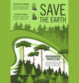 save earth poster with green nature ecology tree vector image vector image