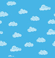 scribble clouds on blue background seamless vector image vector image