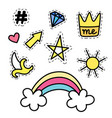 set of fashion stickers with rainbow star crown vector image vector image