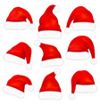 set red santa claus hats with fur vector image vector image