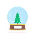 simple snow globe with xmas tree vector image vector image