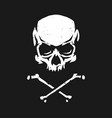 skull and crossbones in grunge style on a dark vector image vector image