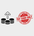 spend coins icon and scratched pay cash vector image vector image