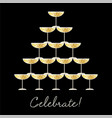 stacked champagne glasses celebrate graphic vector image