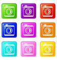 vintage photo camera set 9 vector image vector image