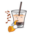 with trumpet white russian mascot cartoon vector image vector image