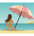 Woman on the beach under umbrella vector image