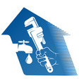 wrench in hand plumber repair and service vector image vector image