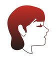 young woman face cartoon red lines vector image