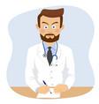 serious doctor writing prescriptopn in office vector image