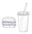 hamburger and cola drink hand drawn sketch vector image