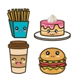 set cartoon fast food design vector image