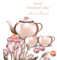 teapot and macaroons card romantic vector image