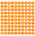 100 sea life icons set orange vector image vector image