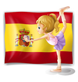 A gymnast in front of the Spanish flag vector image vector image