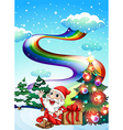A smiling Santa with a rainbow in the sky vector image vector image