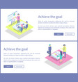 achieve goal presentation set vector image vector image