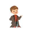 adorable boy wearing dult oversized suit kid vector image vector image