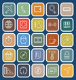 application line flat icons on blue background set vector image vector image